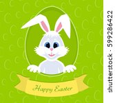 happy easter greeting card with ... | Shutterstock . vector #599286422
