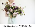unusual wedding stylish bouquet ... | Shutterstock . vector #599304176