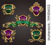 set of golden royal shields... | Shutterstock .eps vector #599306012