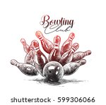 scattered skittle and bowling... | Shutterstock .eps vector #599306066