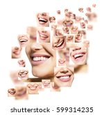 beautiful smiles set. perfect... | Shutterstock . vector #599314235