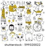 vector set of cute doodle...   Shutterstock .eps vector #599320022