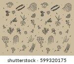 green friends. pattern plants... | Shutterstock .eps vector #599320175