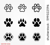 paw icons | Shutterstock .eps vector #599322596