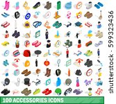 100 accessories icons set in... | Shutterstock .eps vector #599323436
