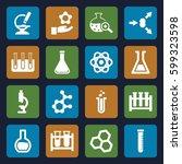scientific icons set. set of 16 ... | Shutterstock .eps vector #599323598