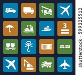 cargo icons set. set of 16... | Shutterstock .eps vector #599325512