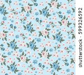 seamless vintage floral pattern ... | Shutterstock .eps vector #599326592
