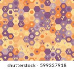 retro geometric hexagon... | Shutterstock .eps vector #599327918