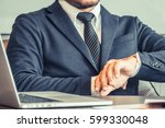 business man work with tablet... | Shutterstock . vector #599330048