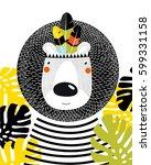 a cartoon lion. drawing of a... | Shutterstock .eps vector #599331158