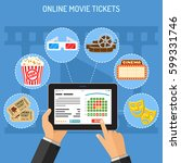 concepts online cinema ticket... | Shutterstock .eps vector #599331746