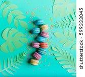 macaron dessert on a turquoise...   Shutterstock . vector #599333045