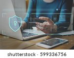 data security system shield... | Shutterstock . vector #599336756