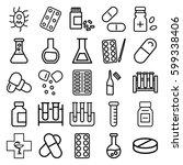 pharmaceutical icons set. set... | Shutterstock .eps vector #599338406