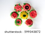 cake with a cream rose   | Shutterstock . vector #599343872