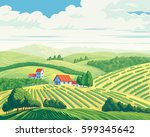 rural summer landscape with... | Shutterstock .eps vector #599345642