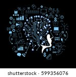 lines and dots form the human... | Shutterstock .eps vector #599356076