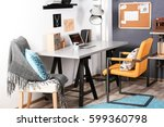 workplace with a table and... | Shutterstock . vector #599360798
