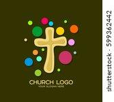 church logo. christian symbols. ...   Shutterstock .eps vector #599362442