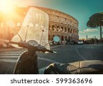 retro scooter stay near the...   Shutterstock . vector #599363696