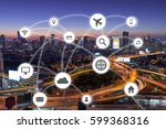 cityscapes network with travel... | Shutterstock . vector #599368316