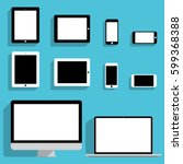 set of apple devices mockups in ... | Shutterstock .eps vector #599368388