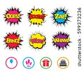 comic wow  oops  boom and wham... | Shutterstock .eps vector #599373236