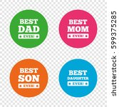 best mom and dad  son and... | Shutterstock .eps vector #599375285