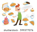 baker with many kinds of baking.... | Shutterstock .eps vector #599377076