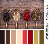 a variety of peppercorns in old ... | Shutterstock . vector #599383172