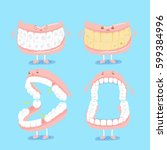 cute cartoon denture on blue... | Shutterstock .eps vector #599384996