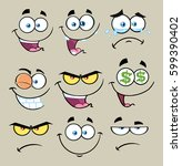 cartoon funny face with... | Shutterstock . vector #599390402