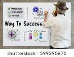 way to success business plan...   Shutterstock . vector #599390672