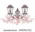 elegant vintage style street... | Shutterstock .eps vector #599391722