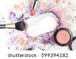 makeup brush  lipstick  and... | Shutterstock . vector #599394182