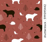 forest seamless pattern with... | Shutterstock .eps vector #599395442