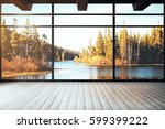 loft interior with panoramic... | Shutterstock . vector #599399222