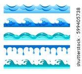 seamless blue water wave vector ... | Shutterstock .eps vector #599405738