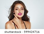 beautiful woman skin tanned red ... | Shutterstock . vector #599424716