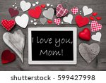 Chalkbord With Many Red Hearts...