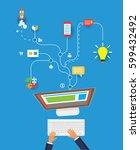 computer working. internet...   Shutterstock .eps vector #599432492