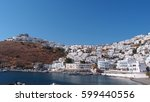 Small photo of Astypalaia traditional village castle as seen from distance, Dodecanese islands, Aegean, Greece