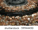 coins beneath a fountain's water