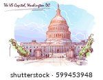 Stock vector front view of the us capitol building cityscape urban hand drawing painted sketch watercolor 599453948