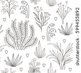 seamless floral pattern | Shutterstock .eps vector #599455892