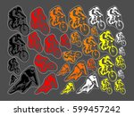 set of mountain bicycle | Shutterstock .eps vector #599457242