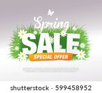 spring sale poster  vector... | Shutterstock .eps vector #599458952