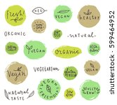 set og vegan signs. vector hand ... | Shutterstock .eps vector #599464952