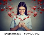 beautiful happy woman sending... | Shutterstock . vector #599470442